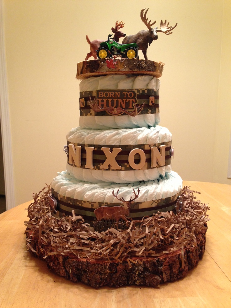 Hunting themed diaper cake Baby shower ideas Pinterest ...