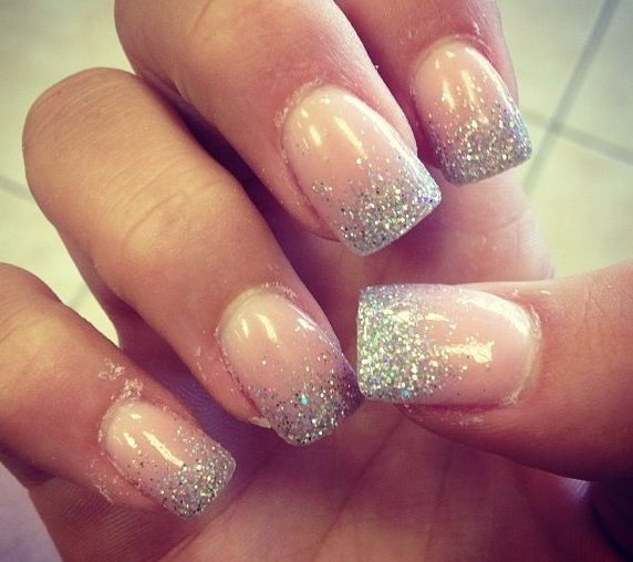 Simple silver glitter tip prom nails.