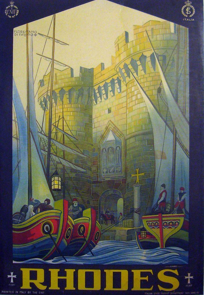 1927 Original Italian Art Deco Travel Poster, Rhodes ENIT Poster - Di Fausto