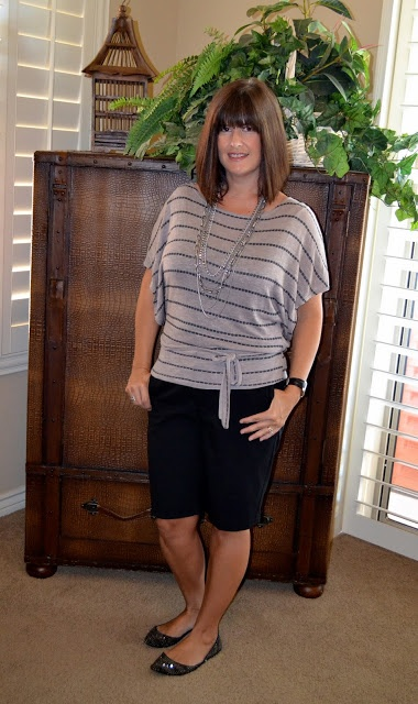 Black Walking Shorts with neutral, batwing top;  for the over 40 crowd
