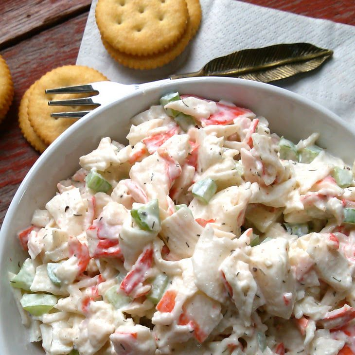 Seafood Salad Recipe Salads with imitation crab meat, mayonnaise, celery, old bay seasoning, dill, salt