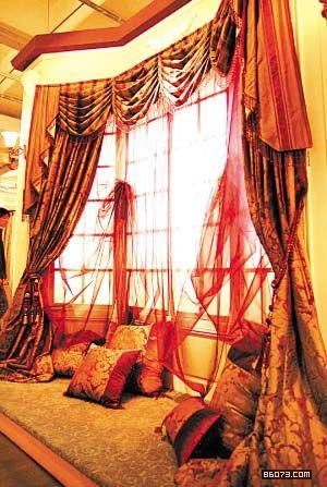 Image result for orange brocade curtain bed