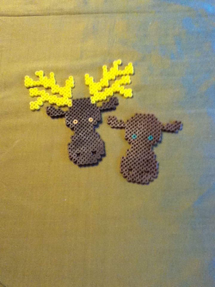 wild animals  forest  moose  alce  28x28 perler beads