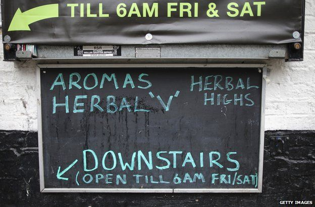 A sign outside a legal highs shop