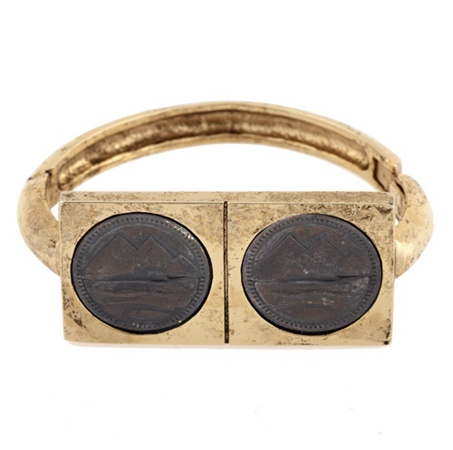 Double Coin Cuff from Low Luv  14 karat yellow gold plated cuff with set black oxidized coins  $99