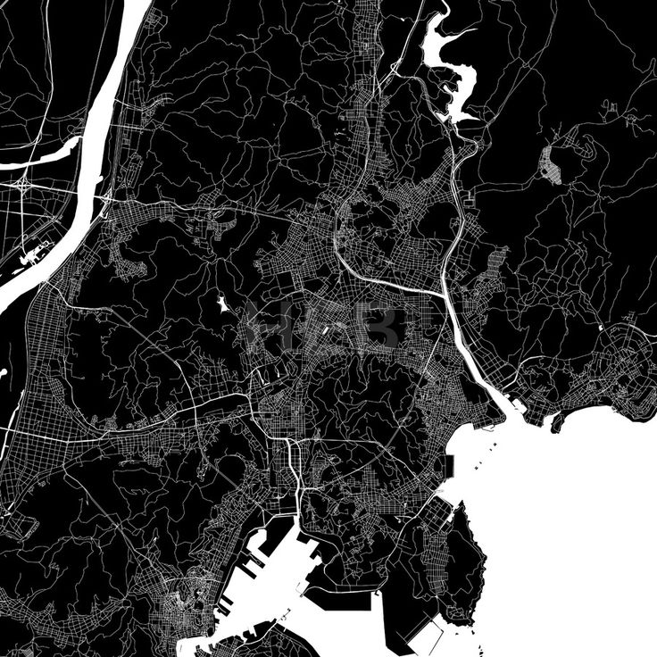 Pusan South Korea Download PDF Map.  Highly detailed art map for infographic background. White highways, streets and water on black. Bigger bridges wi... ... #download #map #stockimage #graphic #pdf #vector #citymap #city