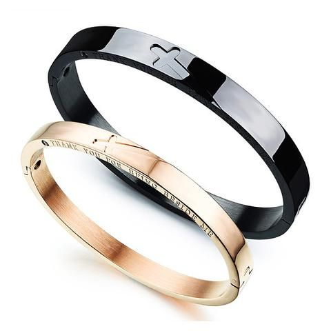InFaith™ Cross Stainless Steel Solid Band Couple's Faith Bracelet (Pair)
