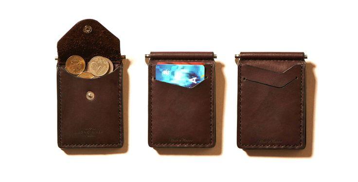 Зажим для денег с карманом под мелочь - коричневый