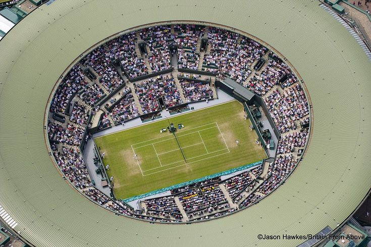 Ace view: The Centre Court at the Wimbledon Lawn Tennis Club before the retractable roof was built #wimbeldon