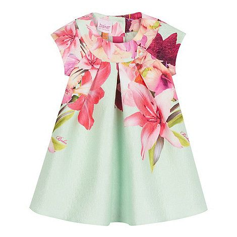 Baker by Ted Baker Light green bird jacquard dress- | Debenhams