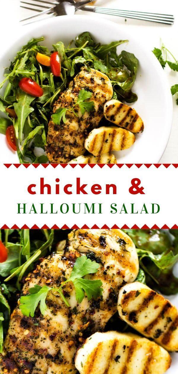 Chicken And Halloumi Salad With Arugula Wendy Polisi Recipe Chicken And Halloumi Main Dish Salad Recipes Recipes