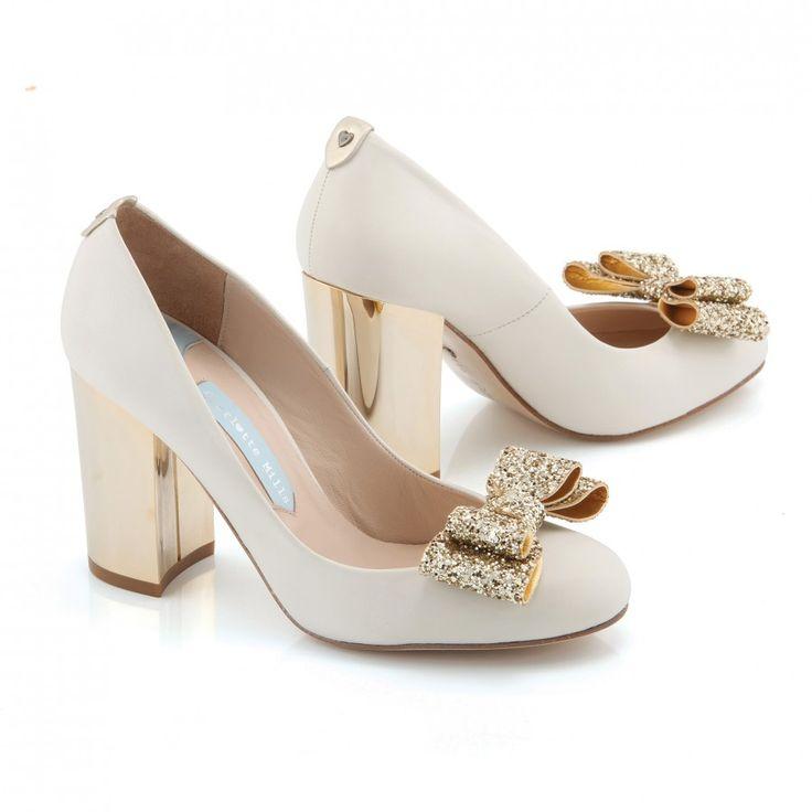 Zapatos de Novia Salón con tacón block modelo Beatrice Bow de Charlotte Mills ➡️ #LosZapatosdetuBoda #Boda