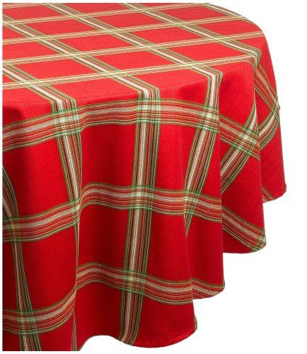 Tablecloth Lenox Holiday Gathering Plaid 70 Inch Round