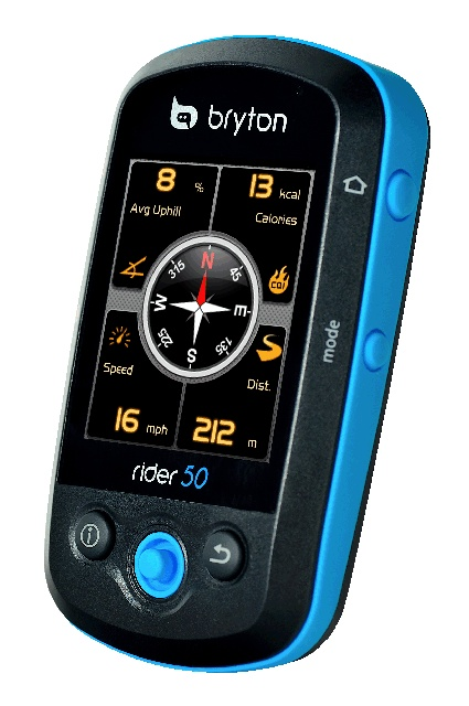 Bryton Rider 50 Bike GPS. HD Maps and all the information a serious rider made need on a ride.