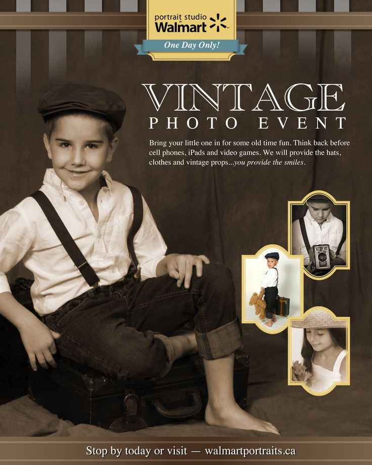 Get amazing vintage photos at the Walmart Portrait Studio! Reserve your spot today, space is limited http://www.walmartportraits.ca/offers/studioevents