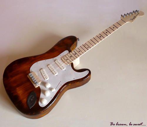 Small Electric Guitar cake - http://cakesdecor.com/cakes/271831-small-electric-guitar-cake