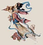 La diosa de la Luna flotando armónicamente atreves del brillo de la Luna.
