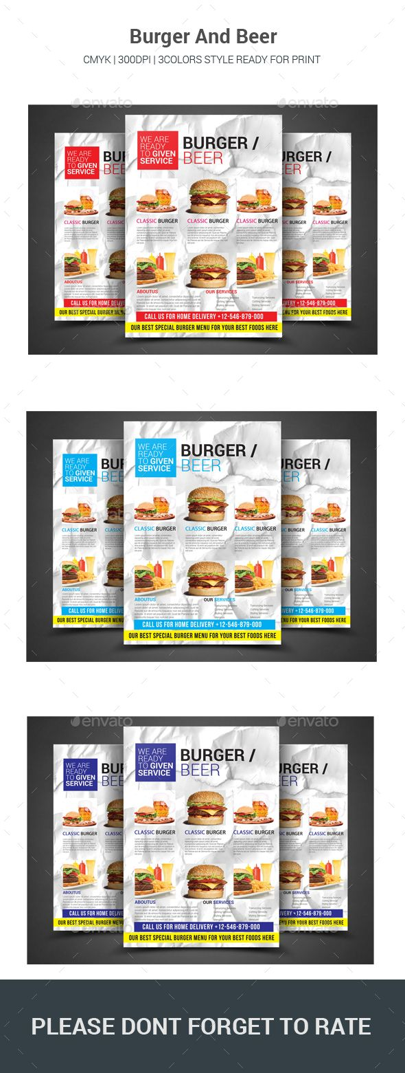 Beer/Burger Flyer - Restaurant #Flyers Download here: https://graphicriver.net/item/beerburger-flyer/17418156?ref=classicdesignp