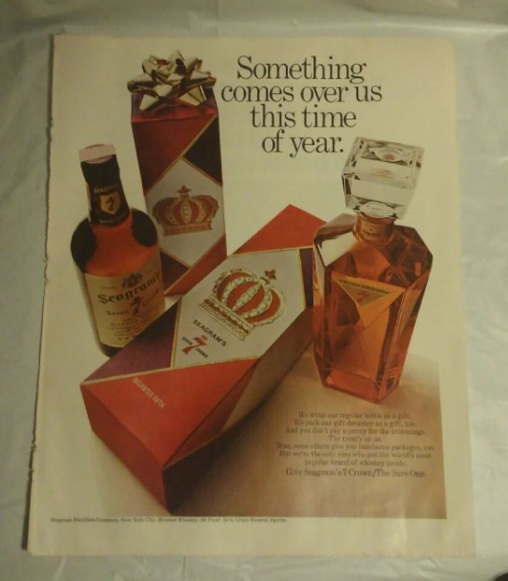 Vintage 60's Seagram's 7 Christmas Print Ad Home Bar Pub Decor #Seagrams