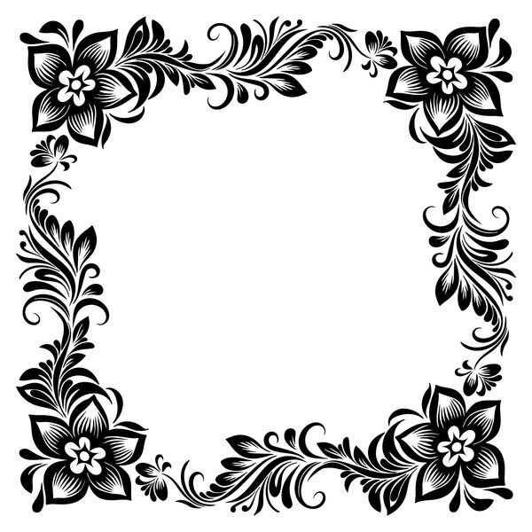 Free Eps File Black Flower Decorative Frame Vectors Material 05