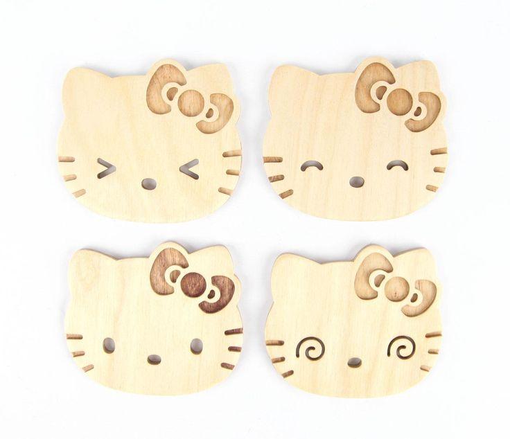 Hello Kitty x Poketo 4-Pce Wooden Coaster Set $28