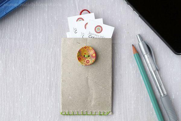 Ideia para Fazer um Porta Cartão de Visita de Material Reciclável