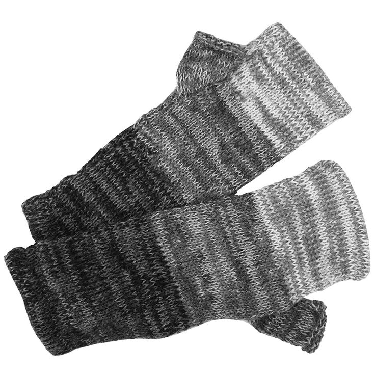 Gray Ombre Alpaca Fingerless Mittens at The Rainforest Site
