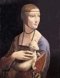 """Lady with an Ermine,"" c.1489-90 by Leonardo da Vinci (1452-1519)"