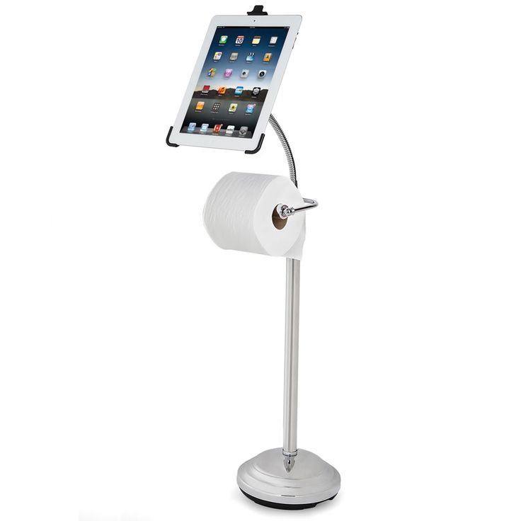 The iPad Commode Caddy - This is the bathroom stand that replaces a traditional basket of magazines by accommodating both an iPad and a roll of toilet paper.