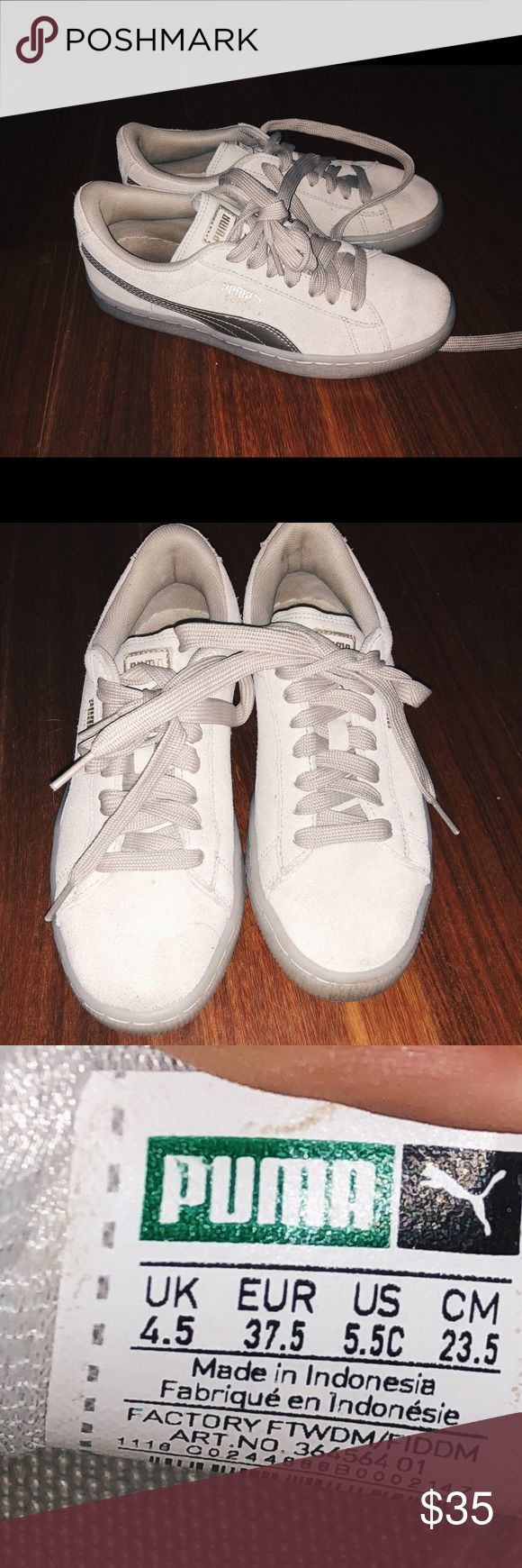 Puma Suede Trainers womens 6.5 Super cute beigeish gray colored puma suedes! Marked at kids 4.5, so womens 6.5. Worn a few times but in good condition. Comment questions! Puma Shoes Sneakers