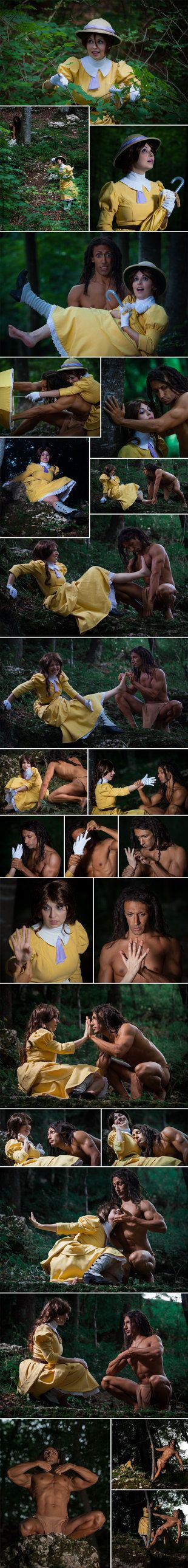 This is a really good cosplay. Maybe Tarzan could've used a different colored garment as he is not a cartoon but it's still good!