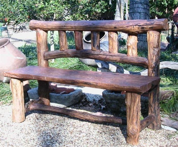 как сделать скамейку из бревен