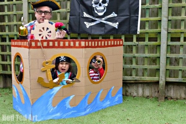 Cardboard Pirate Ship (Photo Booth & Play Ship) - Red Ted Art's Blog : Red Ted Art's Blog