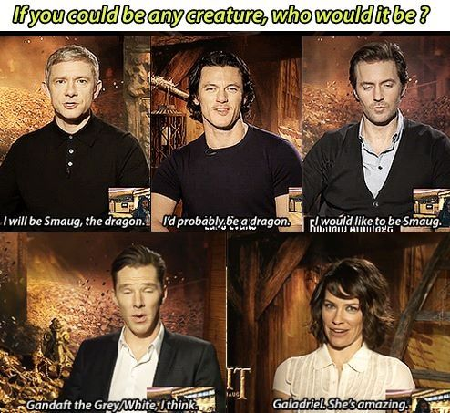 BEN IS AWESOME. HE CHOSE GANDALF. (Although I think I would want to be a dragon)