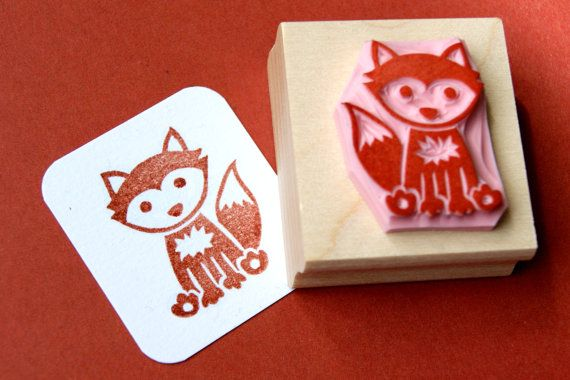 Fox hand carved rubber stamp woodland stamper foxy