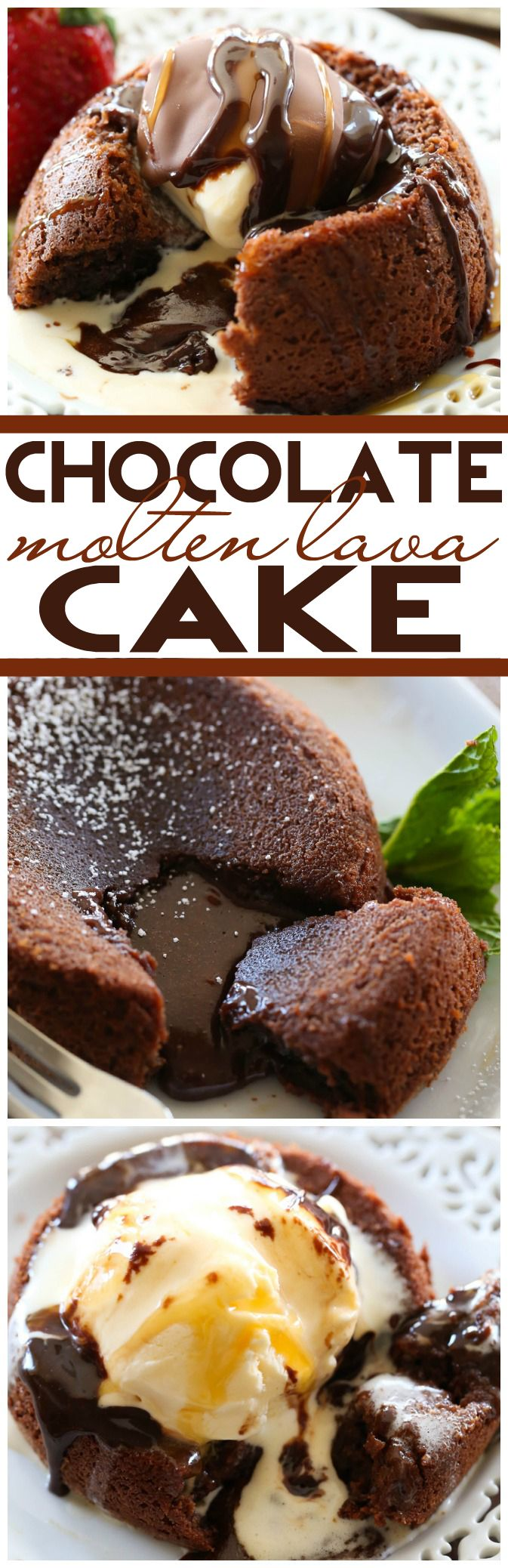Chocolate Molten Lava Cake... This dessert is beyond amazing! It is filled with rich, creamy, velvety chocolate in every bite! It is one unforgettable cake!