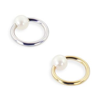 14K Gold Captive Ring With Beautiful Genuine Pearl, 16 Ga,Gold Color:White Gold.  #helix #piercing #jewelry #earrings #bodyjewelry ♥ $31.78 via OnlinePiercingShop.com