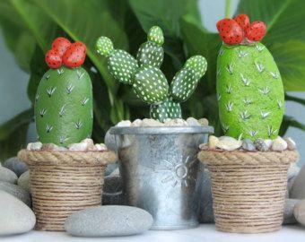 Cactus en maceta 3 piezas arte decorativo por CanitinLivingStones