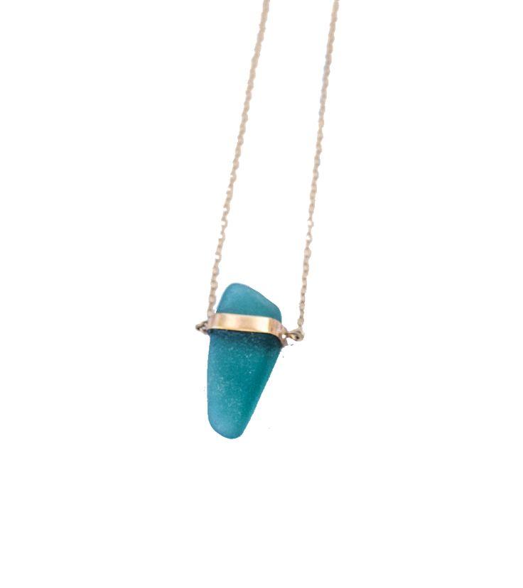 Manifest intellect with Roberta. This sea glass + gold necklace is handmade with love with seaglass collected on the shores surrounding the Panama Canal.