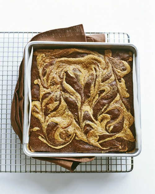 Peanut-Butter Swirl Brownies Recipe -- Spoon dollops of peanut butter filling into brownie batter, and pull a knife back and forth to achieve a marbleized look.