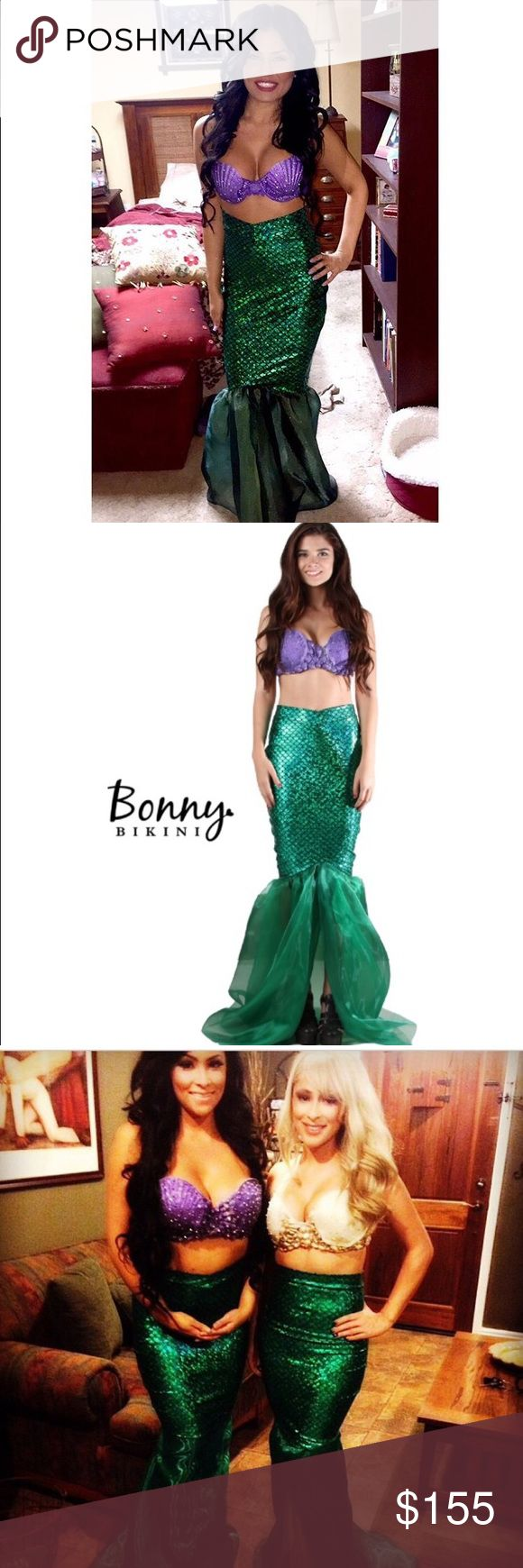 Beautiful Kim Kardashian Inspired Mermaid Costume Stand out this Halloween with a purple bra style top adorned in multi-colored Swarovski crystals. The skirt is a green scaled metallic high-waisted skirt with a chiffon bottom. The top of the skirt is a v band. The top is a padded bra size 34c with adjustable straps while the bottom is extra small. Bonnie Bikini Other