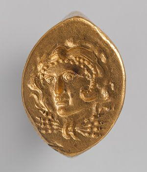 Ring with head of Herakles, late 4th–3rd century B.C.; Hellenistic  Greek  Gold