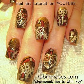 Best 25 steampunk nails ideas on pinterest pretty nails steampunk clock gears cogs with heart key eyeshadow design robin moses nail art tutorial prinsesfo Gallery
