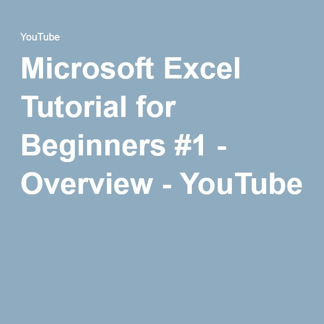 Microsoft Excel Tutorial for Beginners #1 - Overview - YouTube