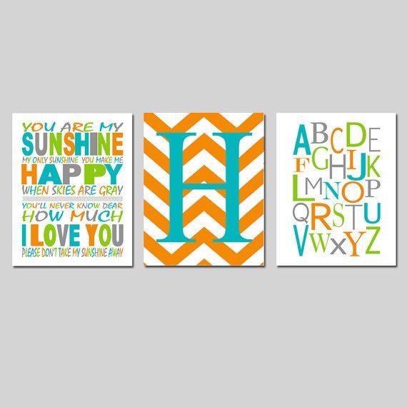 You Are My Sunshine Nursery Art Trio  Chevron Initial   by Tessyla, $55.00