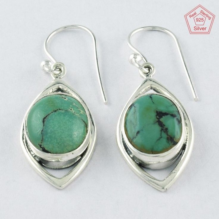 4.6 gm Silvex Images - 925 Sterling Silver Turquoise Stone Stylish Earring 3998 #SilvexImagesIndiaPvtLtd #DropDangle