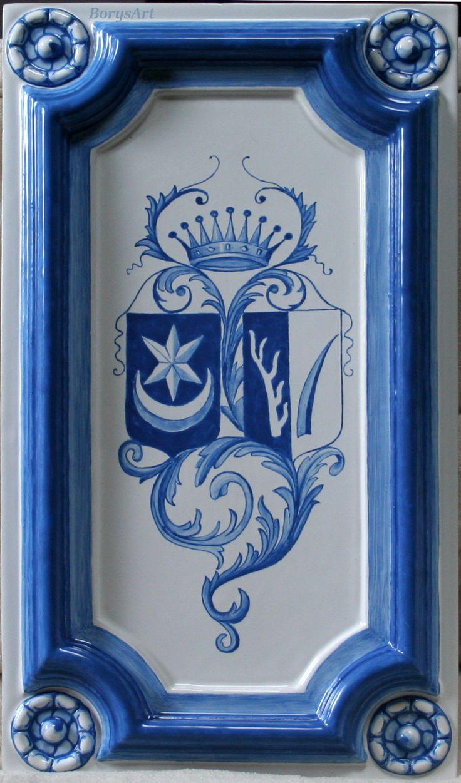 malowany kobaltem kafel centralny do repliki pieca z herbami