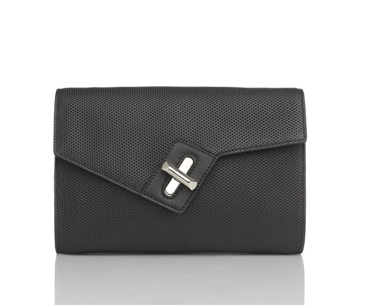 MINI M.I.L.C.K. CLUTCH WITH CHAIN - BLACK MICRO PERFORATED -