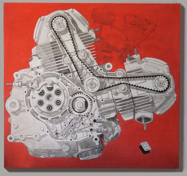 Ducati DesmoDue 750SS Acrylic on Canvas 130x125cm