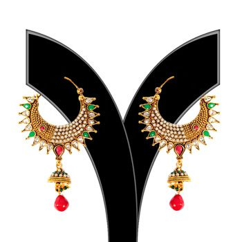 Red, Off White and Green Stone Studded Earring